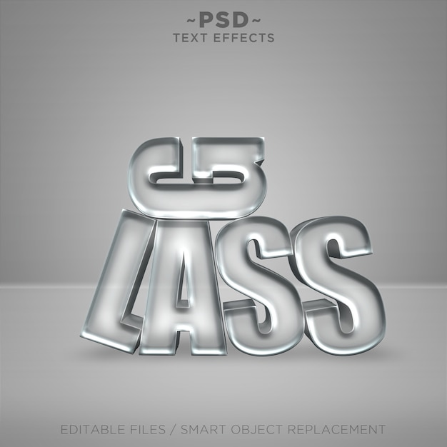 Efeitos editáveis de vidro 3d texto editável Psd Premium
