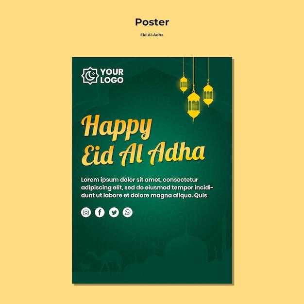 Eid al adha conceito de cartaz Psd grátis