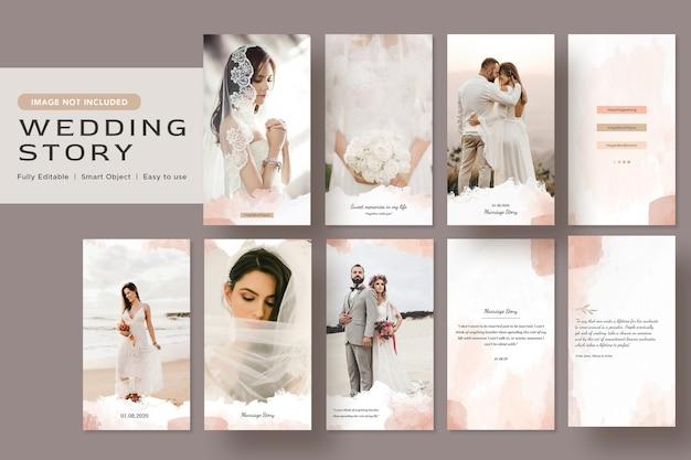Elegance minimalista em aquarela história de casamento design de banner nas redes sociais modelo de postagem no instagram Psd Premium