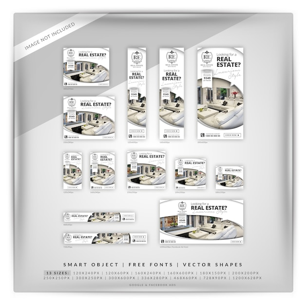 Elegante conjunto de banner do google imobiliário Psd Premium