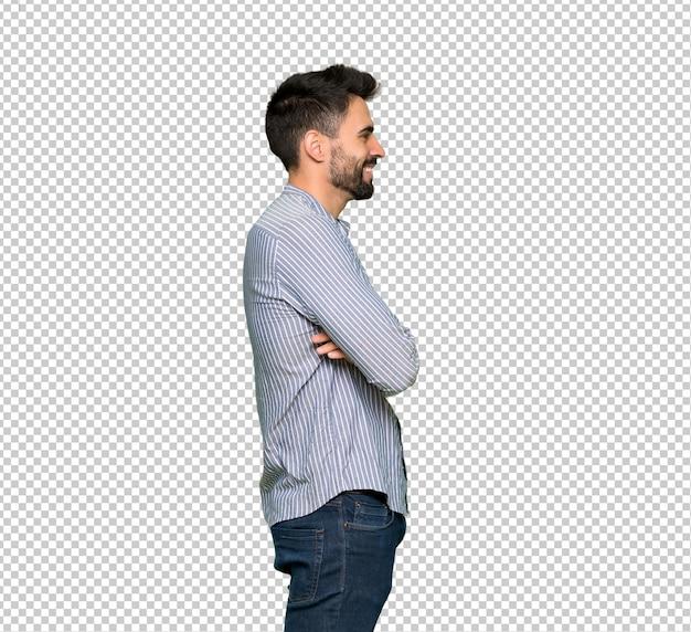 Elegante, homem, com, camisa, em, posição lateral Psd Premium