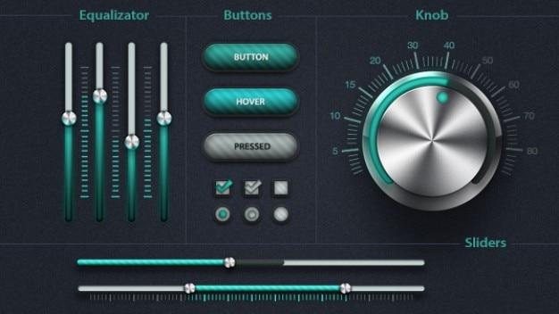 Elementos de interface do usuário com as cores verde Psd grátis