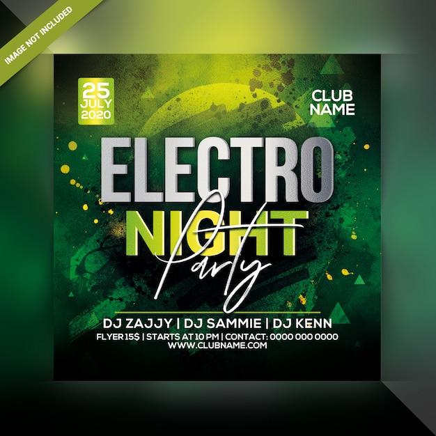 Eletro panfleto do partido da noite Psd Premium