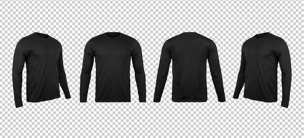 Em branco preto longo sleve camisetas mock up Psd Premium