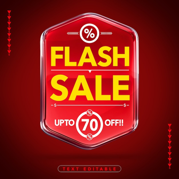 Emblema brilhante 3d de venda instantânea com Psd Premium