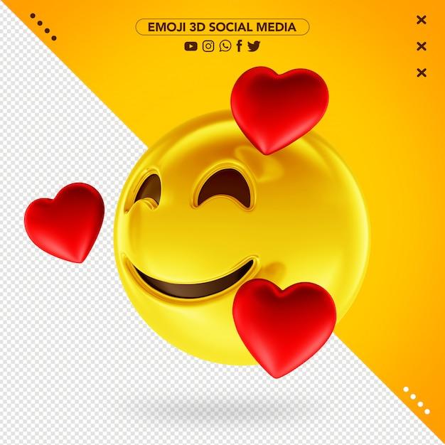 Emoji 3d cheio de amor pelas mídias sociais Psd Premium