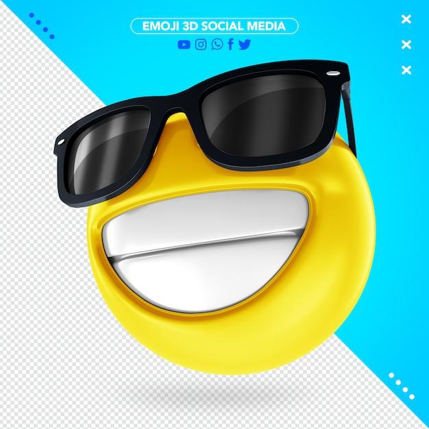 Emoji 3d com óculos de sol Psd Premium