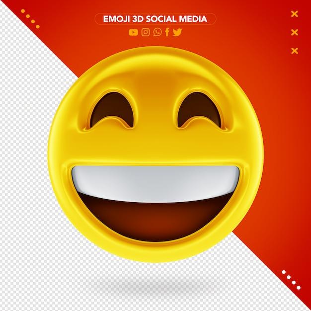 Emoji 3d muito feliz e um sorriso muito alegre Psd Premium