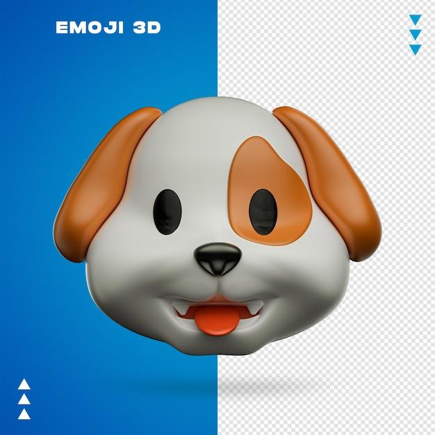 Emoji de cachorro em renderização 3d isolado Psd Premium