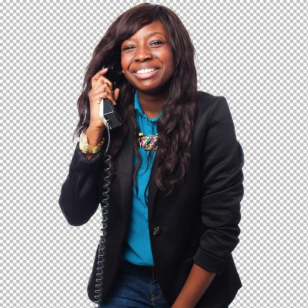Empresária negra falando no telefone Psd Premium