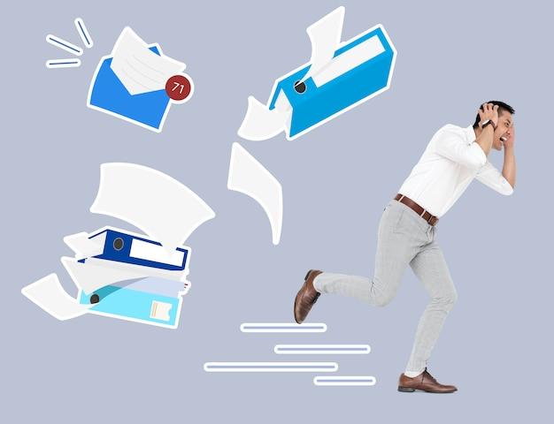 Empresário estressado, fugindo de suas tarefas Psd Premium