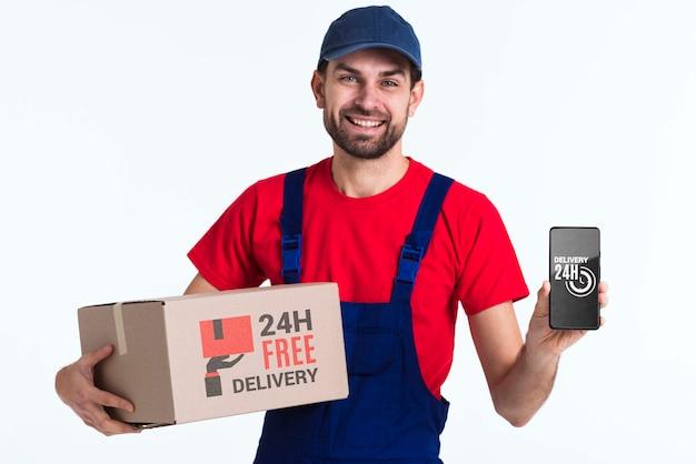 Entregador sem interrupção gratuito com telefone celular Psd grátis