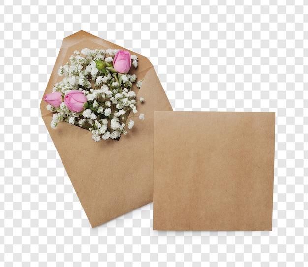 Envelope aberto com arranjos de flores e lugar para texto, vista superior. conceito de saudação festiva Psd Premium