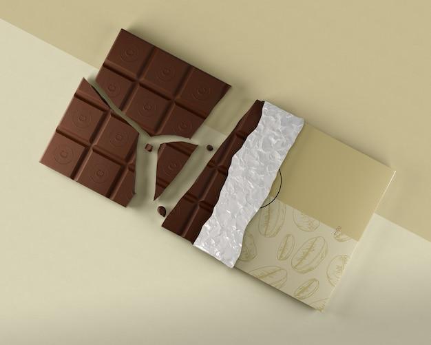 Envoltório da folha para o modelo da tabuleta do chocolate Psd grátis