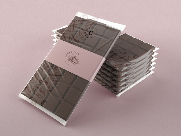 Envoltório de plástico para tabletes de chocolate mock-up Psd grátis