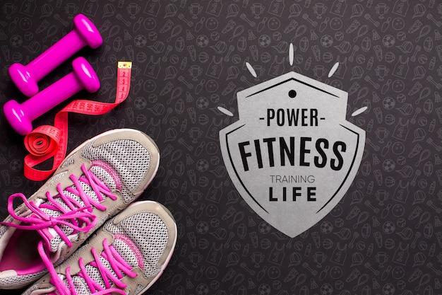 Equipamento de fitness com mensagem inspiradora Psd grátis