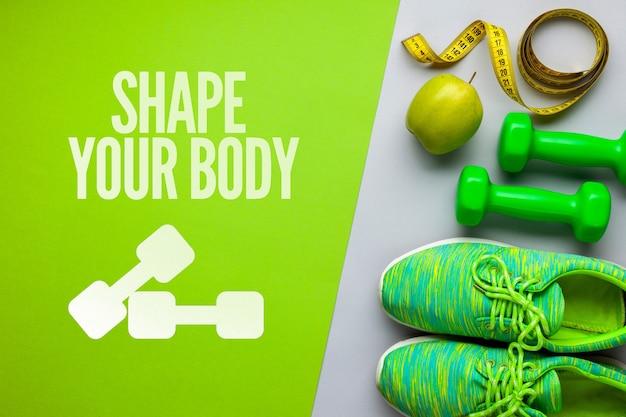 Equipamento de fitness e frutas Psd grátis