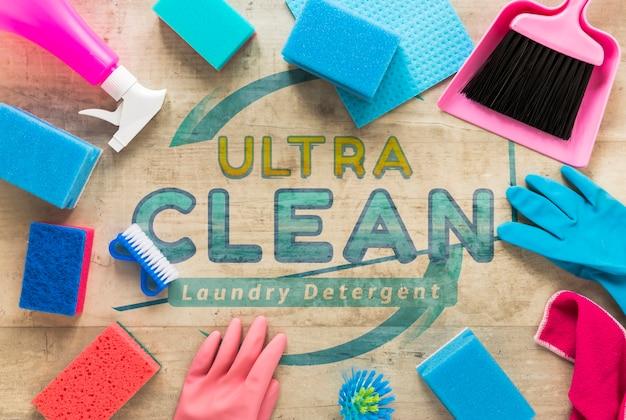 Equipamento de serviço de limpeza colorido liso leigo Psd grátis
