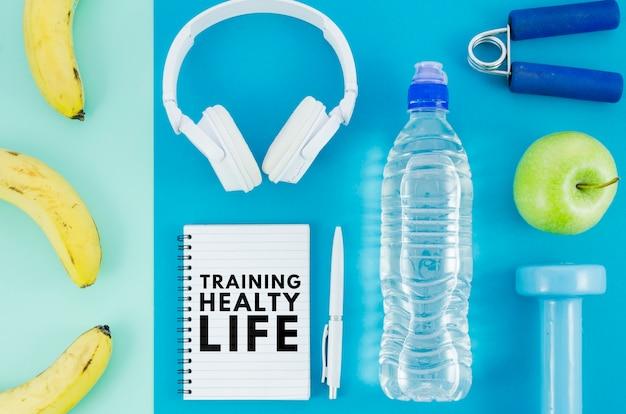 Equipamento de treino e alimentação de mock-up Psd grátis