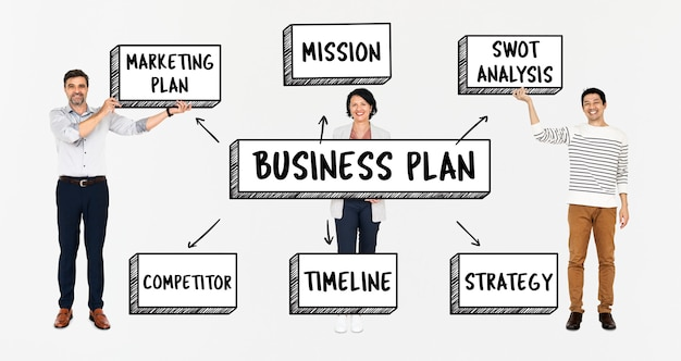 Equipe diversificada com um plano de negócios Psd Premium