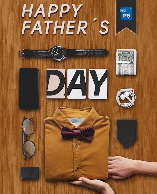 Escritório de roupa de dia dos pais feliz com elementos de presentes Psd Premium