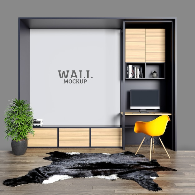Espaço de estudo com mesas de ferro e prateleiras com maquete de parede Psd Premium