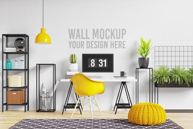 Espaço de trabalho interior de maquete de parede bonita em branco e amarelo estilo escandinavo Psd Premium