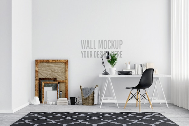 Espaço de trabalho interior de maquete de parede branca linda com decoração em estilo escandinavo Psd Premium