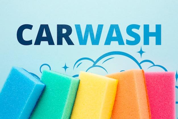 Esponja de limpeza definir conceito de lavagem de carro Psd grátis
