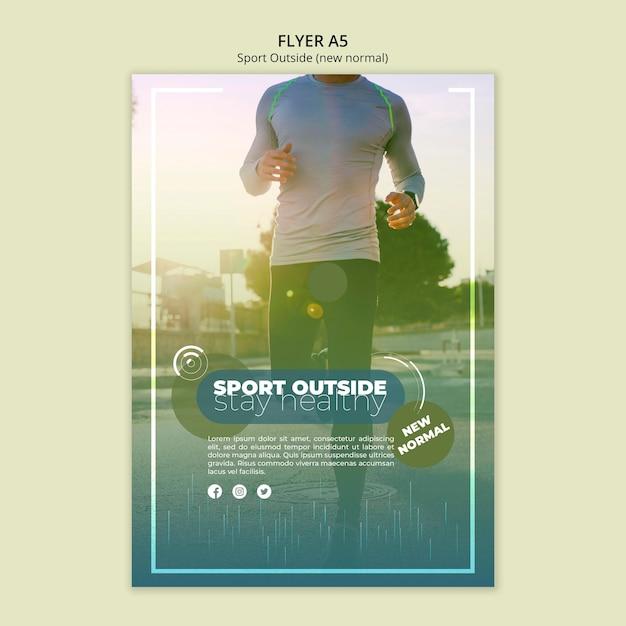 Esporte fora do conceito de modelo de panfleto Psd grátis