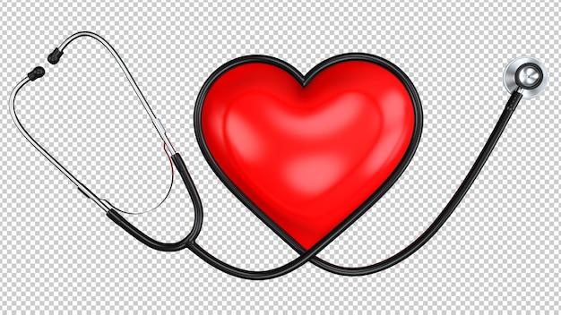 Estetoscópio preto em forma de coração com o símbolo do coração vermelho Psd Premium