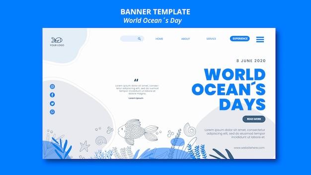 Estilo de banner do dia mundial do oceano Psd grátis