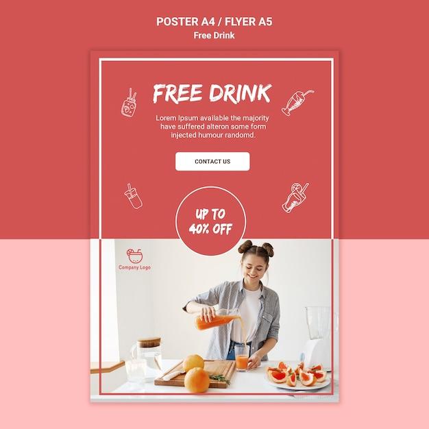 Estilo de cartaz de bebida grátis Psd grátis
