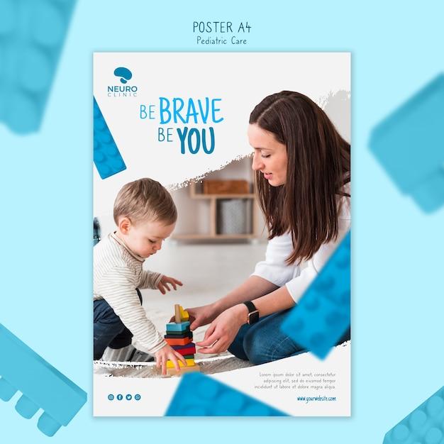 Estilo de cartaz de conceito de cuidados pediátricos Psd grátis