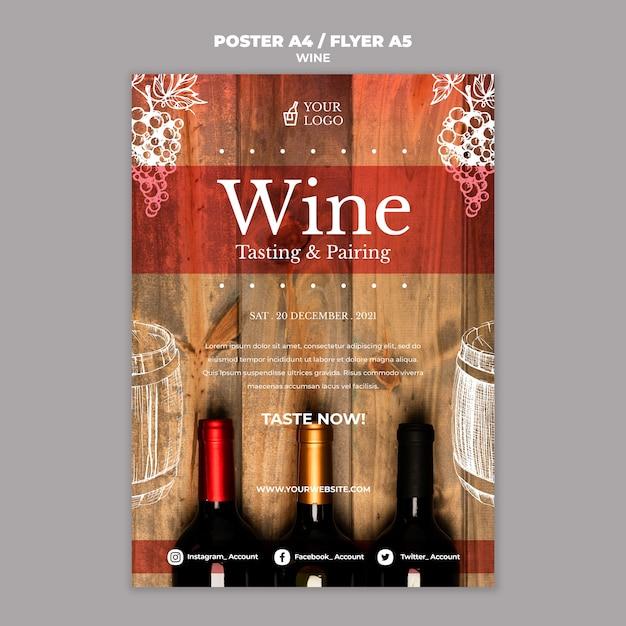 Estilo de cartaz de degustação de vinhos Psd grátis