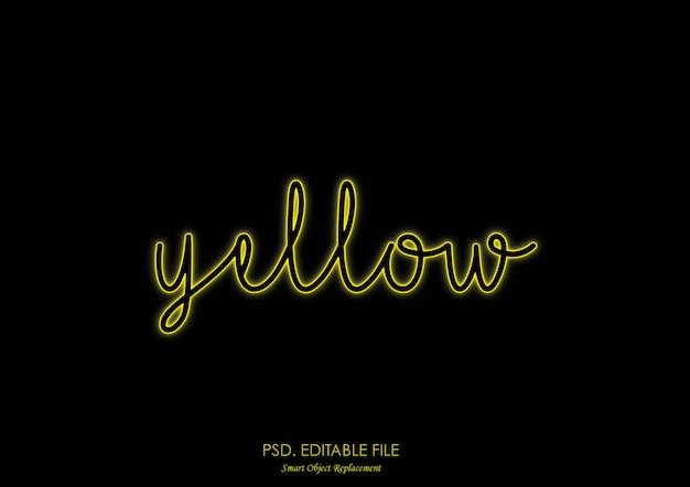 Estilo de efeito de texto amarelo luz de neon Psd Premium