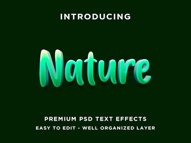 Estilo de efeito editável de texto verde natureza 3d Psd Premium