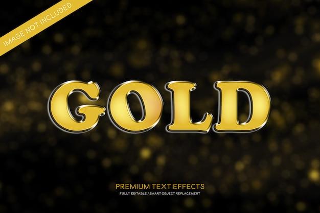 Estilo de efeitos de texto 3d em ouro Psd Premium