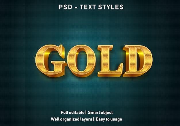 Estilo de efeitos de texto de ouro 3d Psd Premium