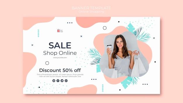 Estilo de modelo de banner de compras online Psd Premium