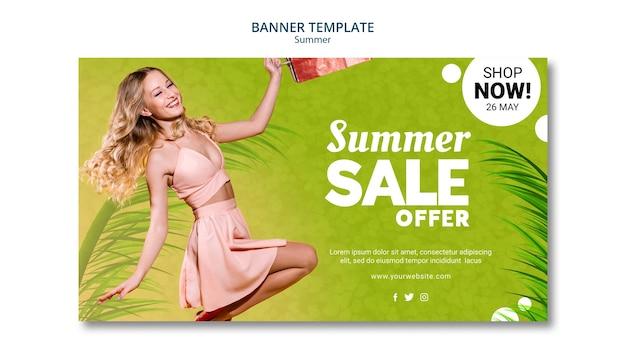Estilo de modelo de banner de venda verão Psd grátis