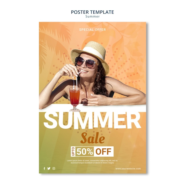 Estilo de modelo de cartaz de venda verão Psd grátis