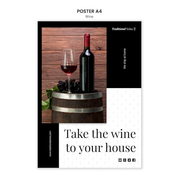 Estilo de modelo de cartaz de vinho tradicional Psd grátis