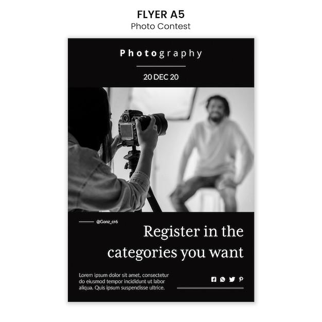 Estilo de modelo de folheto de concurso de fotos Psd grátis