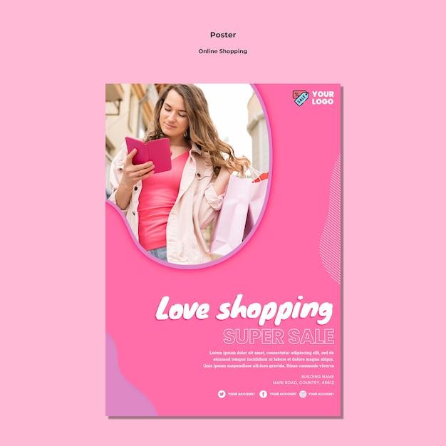 Estilo de modelo de pôster de compras online Psd grátis