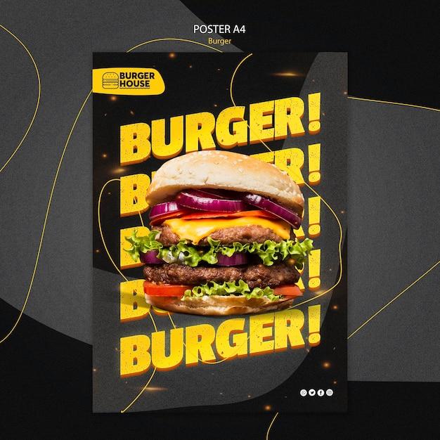 Estilo de modelo de pôster de hambúrguer Psd grátis