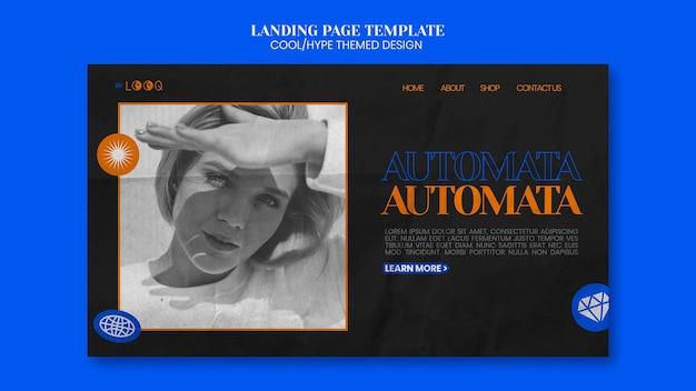 Estilo de página de destino com design temático legal Psd grátis