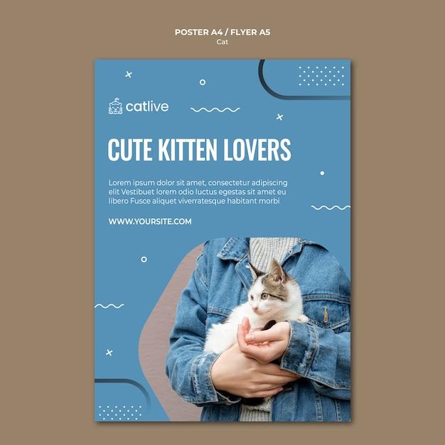 Estilo de panfleto de conceito de amante de gato Psd grátis