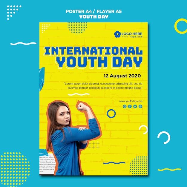 Estilo de panfleto de evento do dia da juventude Psd grátis