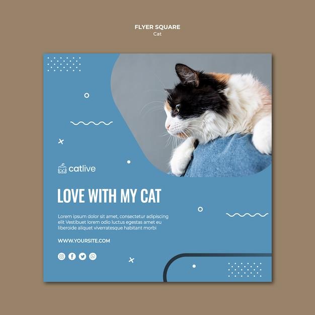 Estilo de panfleto quadrado de amante de gato Psd grátis